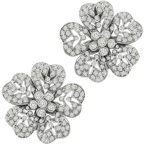 Estate 4.25ct Diamond Floral Earrings