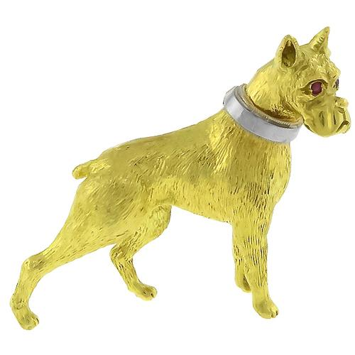 Ruby Gold Boxer Dog Pin