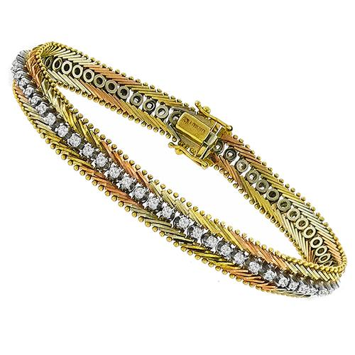 Diamond Tennis Tri Color Gold Bracelet