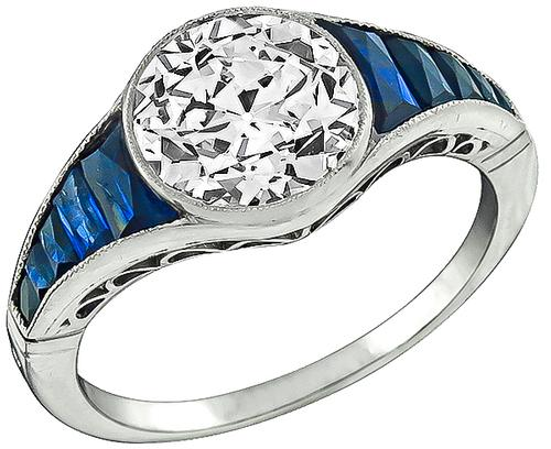 Art Deco Old Mine Cut Diamond French Cut Sapphire Platinum Engagement Ring