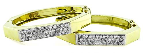 1960s Round Cut Diamond 14k Yellow and White Gold Suite of Two Bangle