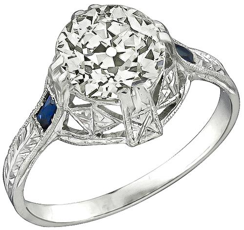 Art Deco Old Mine Cut Diamond Sapphire 20k White  Gold  Engagement Ring