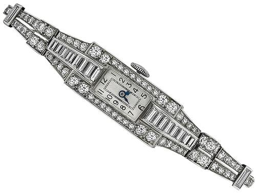 Art Deco Baguette and Round Cut Diamond Platinum Watch