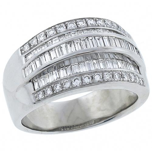 1950s 2.70ct Baguette & Round Cut Diamond 18k White Gold Ring