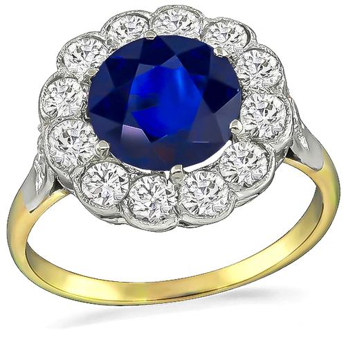 Victorian Round Cut Ceylon Sapphire Old Mine Cut Diamond 14k Yellow and White Gold Engagement Ring