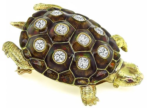 Victorian Cushion Cut Diamond Enamel 14k Gold Turtle Pin / Pendant