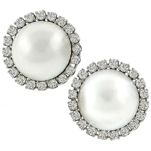 Estate 1960s 3.20ct Round Cut Diamond 17.5mm Mabe Pearl  14k White  Gold  Earrings