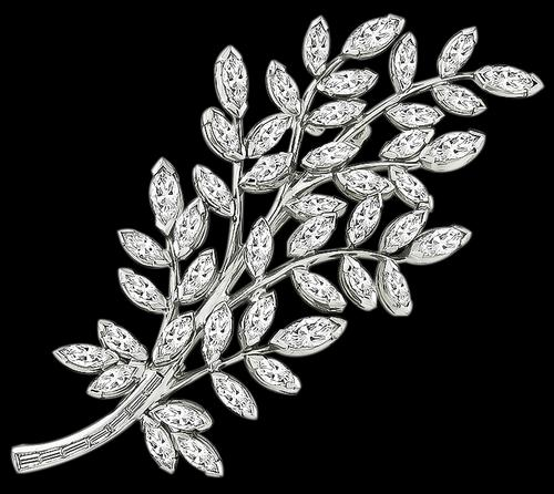 1960s Marquise and Baguette Cut Diamond Platinum Foliage Pin