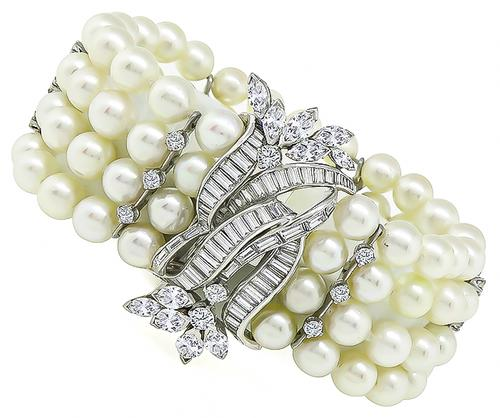 1950s Marquise Round and Baguette Cut Diamond Pearl Platinum Bracelet