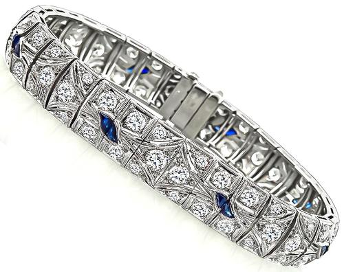 Art Deco Old Mine Cut Diamond Sapphire Platinum Bracelet