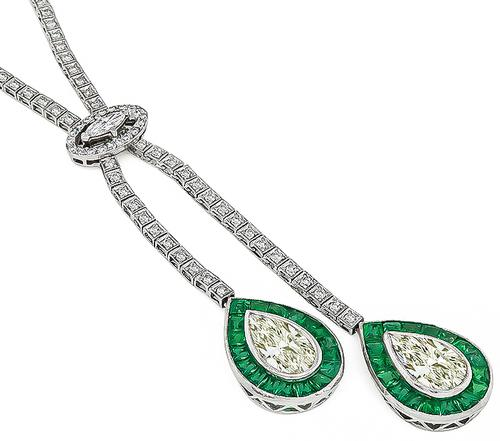 Art Deco Pear Shape Light Fancy Yellow Diamond Marquise and Round Cut Diamond Emerald Platinum and 14k White Gold Necklace