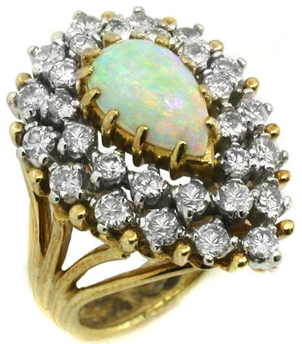 1960s Cabochon  Pear Shape Opal 1.15ct Round Diamond 18k Yellow Gold Ring
