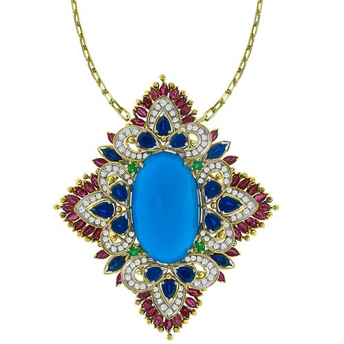 Turquoise Sapphire, Ruby, Diamond & Emerald  Gold Pin/ Pendant