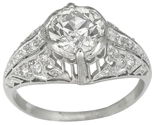 EGL Certified  1.51ct  Old Mine Cut Diamond Platinum Engagement Ring