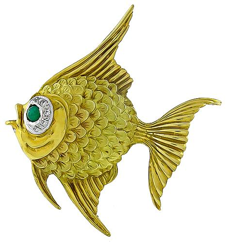 1960s 18k Yellow Gold Emerald Diamond Angel Fish Pin