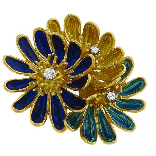 1960s Multi Color Enamel  0.20ct Round Cut Diamond 18k Yellow Gold Flower Pin