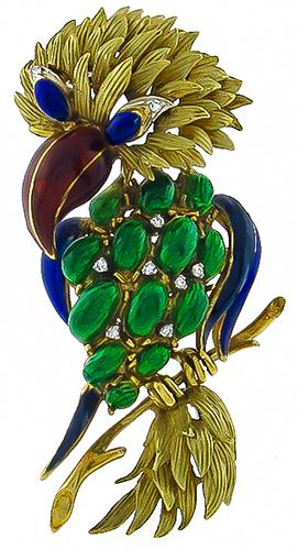 1960s 18k Yellow Gold Enamel Parrot Pin