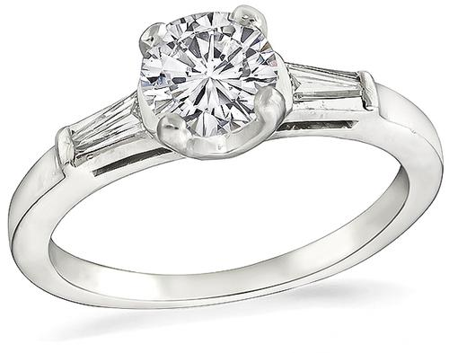 Estate Round Brilliant Cut Diamond Platinum Engagement Ring