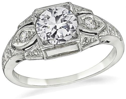 Art Deco Old European Cut Diamond 18k White Gold Engagement Ring