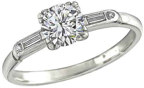 1920s Round Brilliant Cut Diamond Platinum Engagement Ring