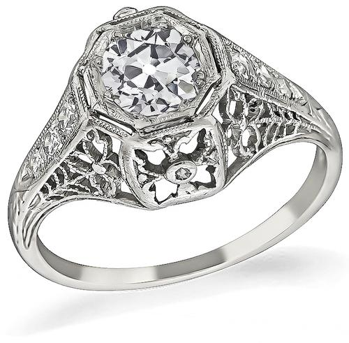 Edwardian Cushion Cut Diamond Platinum Engagement Ring