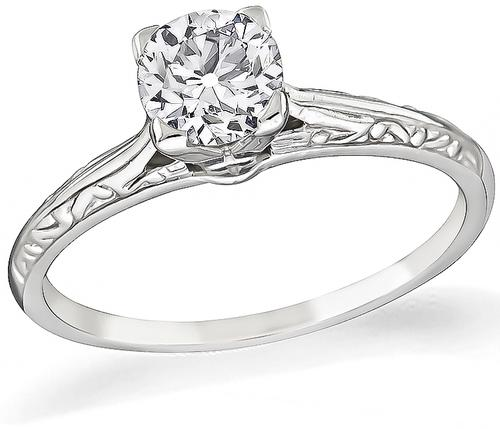 Victorian Old Mine Cut Diamond 14k White Gold Solitaire Engagement Ring