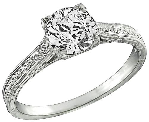 Edwardian Old Mine Cut Diamond Platinum Engagement Ring