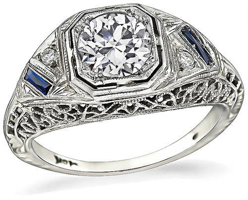Art Deco Old Mine Cut Diamond Sapphire 18k White Gold Engagement Ring