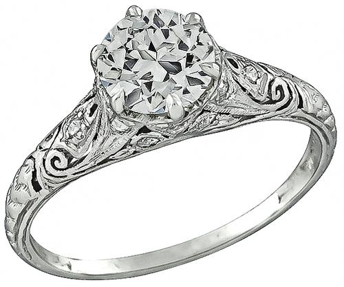 Edwardian Round Brilliant Cut Diamond Engagement Ring