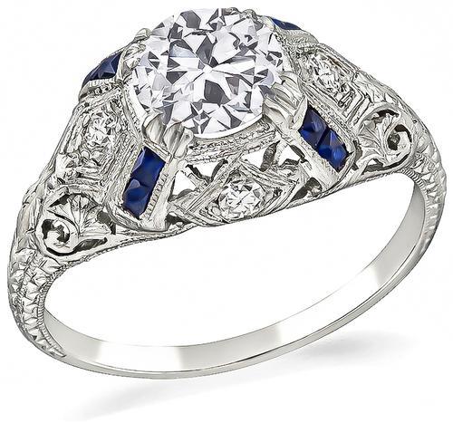 9ef9bf1793563 Vintage GIA 1.00ct Diamond Sapphire Engagement Ring | Israel Rose
