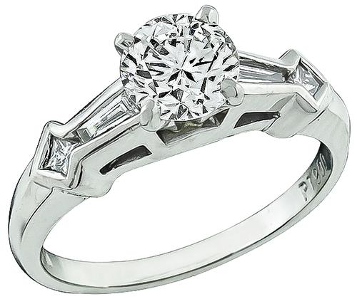 1950s Round Brilliant Cut Diamond Platinum Engagement Ring