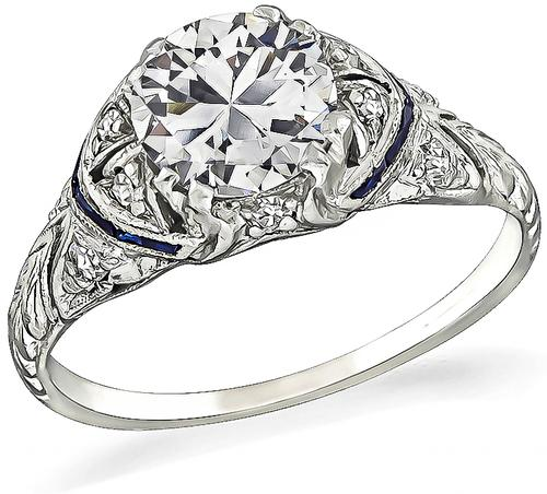 Art Deco Round Cut Diamond Sapphire Platinum Engagement Ring