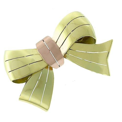 Retro 1940s  2 Tone 14k Green & Pink Gold Bow Pin