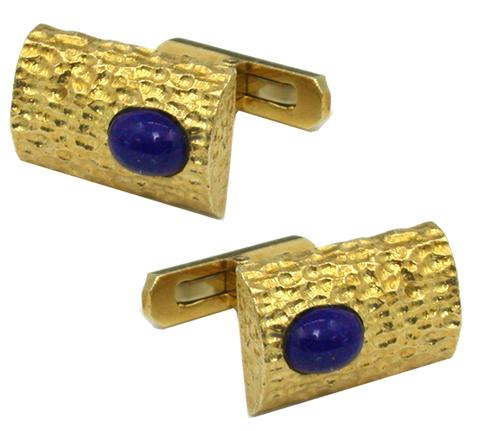 1960s Cabochon Lapis 18k Yellow Gold Cufflinks