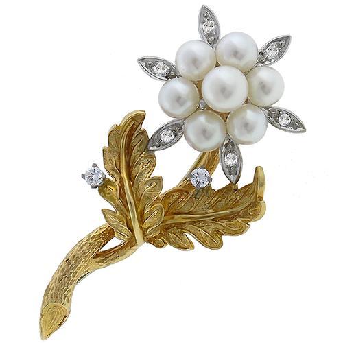 Vintage 14K Pearl Diamond Flower Brooch