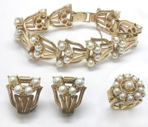 1940's 5mm Pearl 14k Yellow Gold Bracelet, Earrings, and Ring Set