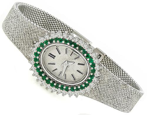 1950s Quartz Diamond Emerald 18k White Gold Watch