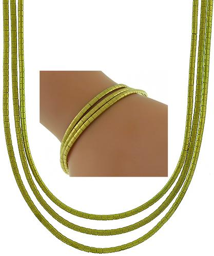 1960s 18k Yellow Gold Three Strand Necklace and Bracelet Set