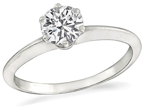 1920s Round Brilliant Cut Diamond Platinum Solitaire Platinum Engagement Ring by Tiffany & Co