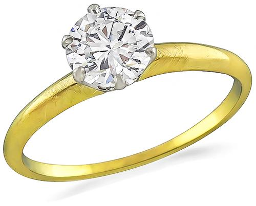 Victorian Round Cut Diamond Platinum 18k Yellow Gold Engagement Ring by Tiffany & Co