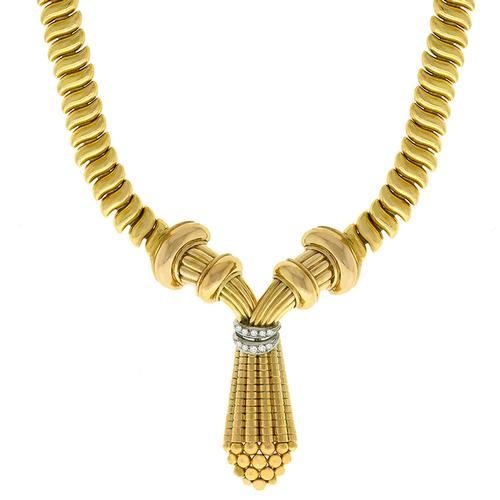 Retro 1940s Diamond Gold Chain Necklace