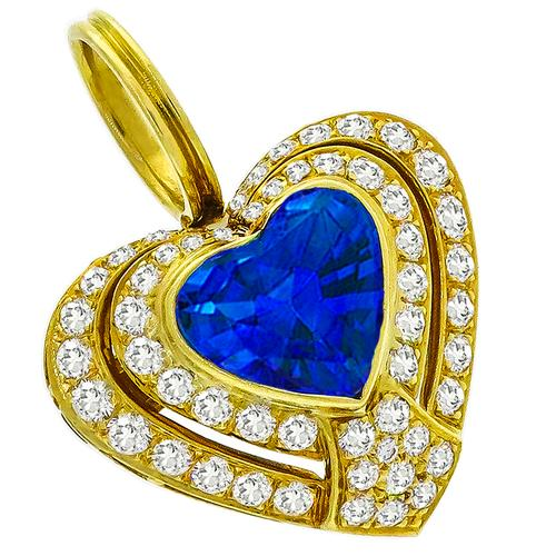 GIA 6.55ct Ceylon Sapphire 3.25ct Diamond Heart Pin/Pendant