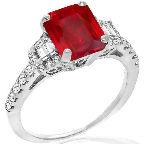 2.04ct Burmese Ruby 0.75ct Diamond Gold Ring