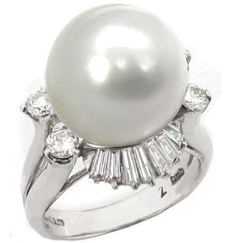 White South Sea Pearl Diamond 14k White  Gold Ring