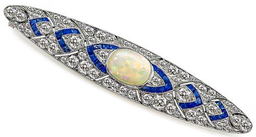 Vintage Cabochon Opal Old Mine Cut Diamond French Cut Sapphire Platinum Pin
