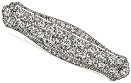 Vintage European Cut Diamond Platinum Pin