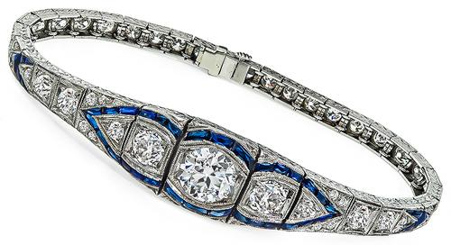 Vintage 5.63ct Old Mine Cut Diamond Sapphire Platinum Bracelet