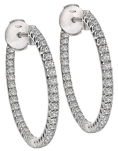 Round Cut Diamond 18k White Gold Inside Out Hoops Earrings