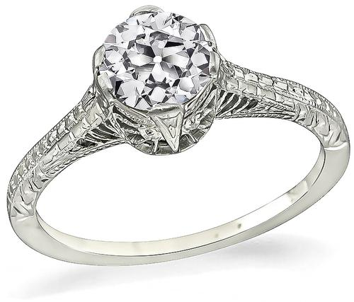 Vintage Old Mine Cut Diamond 18k White Gold Engagement Ring