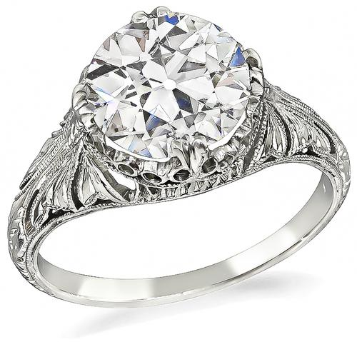 Edwardian Old European Cut Diamond Platinum Engagement Ring